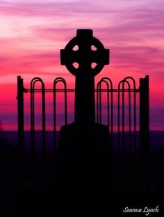 Celtic cross on the Hill of Tara, from what I understand the Celtic cross was designed by St. Patrick to combine the Christian cross with the pagan sun or circle.