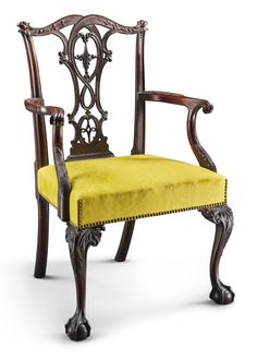 The Important Charles Thomson Chippendale Carved and Figured Mahogany Armchair, carving attributed to John Pollard, Philadelphia, circa 1770 -  retains a rich historic surface, approximately one inch has been restored at top of stiles and splat, rear legs with bottom inch replaced. Height 39 3/4 in.