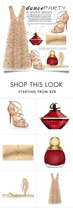 """""""Dance Party"""" by conch-lady ❤ liked on Polyvore featuring Christian Louboutin, Guerlain, Nina Ricci, Christian Dior, Valentino, danceparty and sparklydresses"""