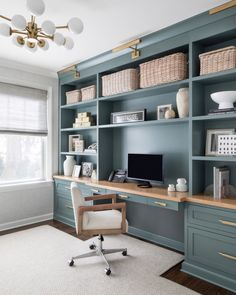 Home Office Layouts, Home Office Space, Home Office Design, Home Office Decor, Home Decor, Home Study Design, Office Built Ins, Built In Desk, Office Playroom