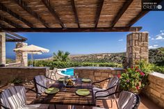 Holiday villa rental in Rethimno. Pool villa on the hill with great view of the Cretan Sea. Villa, Great View, Pergola, Outdoor Structures, Patio, Outdoor Decor, Holiday, Space, Home Decor