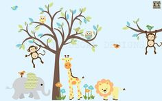 Safari Wall Decal Nursery Wall Decal Jungle por StickItDecalDesigns