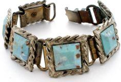 Vintage Blue Turquoise Rhinestone Bracelet Silver Plated 6 1 2 inches Long   eBay