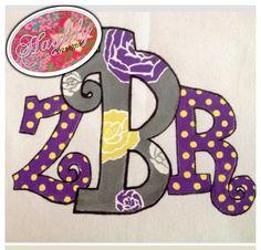 Custom #painted #monogram #purple #yellow #HaylilyDesigns