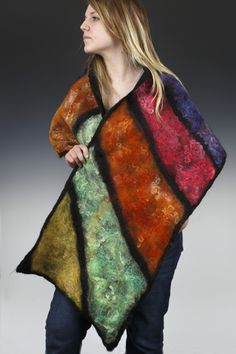Wet Felted Shawl - 100% Alpaca Fiber, Hand dyed and felted
