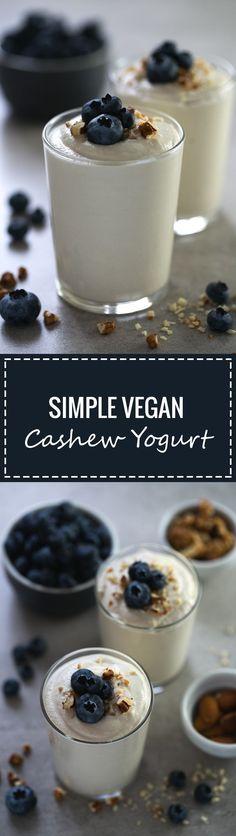 Making non-dairy yogurt at home is so easy, besides, it's healthier and tastes so good! We used unsalted raw cashews to make this delicious vegan yogurt. Roh Vegan, Vegan Vegetarian, Yogurt Recipes, Raw Food Recipes, Milk Recipes, Cashew Yogurt, Siggis Yogurt, Yogurt Popsicles, Yogurt Parfait