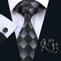 2016 Mens Tie Plaid Silk Jacquard Woven Tie Hanky Cufflink Set For Men Formal Wedding Party Business Free Postage Mens Silk Ties, Men Ties, Cufflink Set, Men Formal, Formal Wear, Tie And Pocket Square, Pocket Squares, Tie Set, Men Style Tips