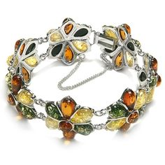 """Multicolor Amber Sterling Silver Large Flower Bracelet 8"""" ** Want to know more, click on the image."""