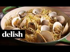 Get ready to feel like you& out to eat somewhere super fancy. DIRECTIONS In a large pot of salted boiling water, cook pasta until al dente. Drain and re. Clam Recipes, Seafood Recipes, Cooking Recipes, Clam Pasta, Seafood Pasta, Dinner Dishes, Pasta Dishes, Linguine And Clams, Delish Videos