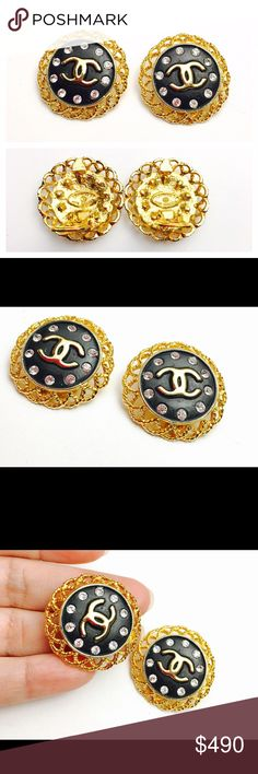 4e1facd61 Vintage CHANNEL Black/rhinestones Clip ON Earrings This is knockout pair of  Vintage CHANNEL Clip. Vintage Chanel EarringsChanel JewelryBlack ...