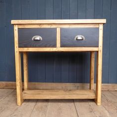 Reclaimed wood double drawer console table.  This cute console beautifully combines two looks which are very popular right now, with rustic farmhouse styling, combined with industrial style handles on ebonised drawers. With two storage drawers and a generous surface area, this is the perfect piece for any entrance hall.  #cheshire #reclamation #salvage #antiques #collectables #vintage #retro #home #garden #design #interiordesign #furniture #antique #design #reclaimed #rustic #industrial