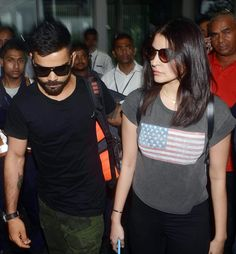 Anushka Sharma and Virat Kohli spotted at Kolkata airport. #Bollywood #Fashion #Style #Beauty