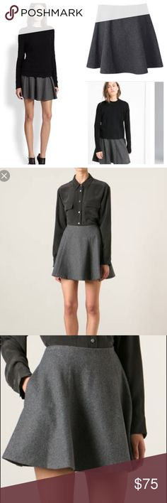 Theory Merlock Structured Skirt Wool blend A line skirt crafted from structured wool blend fabric and features a seamed front and back. In seam side pocket. Invisible side zipper. Length almost 17 inches. Theory Skirts Mini