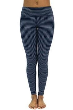 a2cf3db5e684b 90 Degree By Reflex Fleece Lined Leggings Yoga Pants NavyMint Stripe S