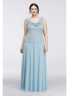 Plus Size Gown with Caviar Beaded Cowl Neckline 757852D