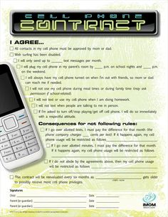 cell phone contract for kids - not that any of my kids have or need a phone right now
