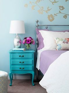Inspiring Beautiful Blue Lilac Bedroom Design - Architecture and Interior Design Trends Turquoise Bedroom Walls, Lilac Bedroom, Aqua Bedrooms, Teen Girl Bedrooms, Bedroom Decor, Bedroom Ideas, Turquoise Dresser, Turquoise Room, Turquoise Furniture