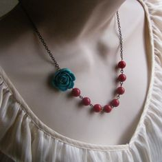 Turquoise Flower Beaded Necklace with Red Beads. Bridal Jewelry