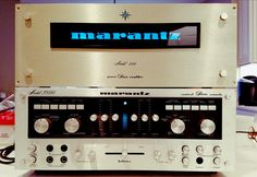 Vintage Marantz Model 240 amp with custom backlit faceplate and 3800 preamp