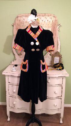 1940s Dress Striped Trim Velvet Dress 40s by SownThreadsClothing