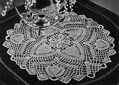 Flowering Pine Doily crochet pattern originally published in Pineapple Pageant, Spool Cotton Co. #252.