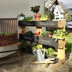 Hello Spring! Hello Garden! DIY Herbs in an euro pallet...getting ready for the warm season!