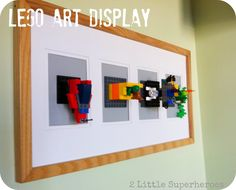 A Lego art display-what a cute idea!  Plus the creations can be swapped out for new ones whenever the child wants because its Legos.