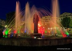 """Buy the royalty-free Stock image """"Colored water fountain at night, Corfu city"""" online ✓ All image rights included ✓ High resolution picture for print, w. Corfu Town, High Resolution Picture, Greek Islands, Planet Earth, Water Features, Fountain, Garden Design, Greece, Night"""