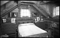 Bedroom in unidentified cabin, New Mexico. Photo by T. Harmon Parkhurst, ca. 1925-45. Palace of the Governors Photo Archives 069120.