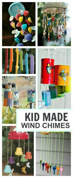 20 wind chime crafts kids can make- these are BEAUTIFUL! I want to make them all 20 wind chime crafts kids ca Craft Activities For Kids, Projects For Kids, Diy For Kids, Craft Projects, Craft Ideas, Indoor Activities, Outdoor Projects, Kids Outdoor Crafts, Arts And Crafts For Kids For Summer