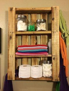 Ideas For Diy Bathroom Shelf Pallet Shelves - Image 13 of 21 Diy Bathroom Furniture, Pallet Wall Bathroom, Bathroom Ideas, Bathroom Canvas, Budget Bathroom, Simple Bathroom, Pallet Furniture, Bathroom Inspiration, Rustic Bathroom Designs