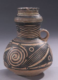 Chinese Banshan Neolithic Pottery Jar. Banshan was a phase of the Chinese Neolithic Yangshao culture, circa 2600 BC to 2300 BC. The Banshan site is in Guanghe County, Gansu.