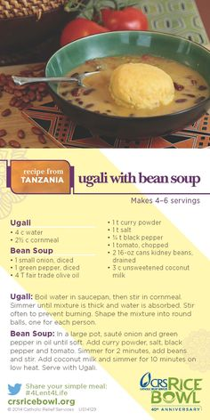 74 best family recipes from around the world images on pinterest this crs video recipe from tanzania shows you how to cook ugali with bean forumfinder Image collections