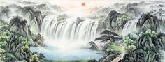 Rising Sun Cornucopia Big Waterfall Landscape Chinese Ink Brush Painting, 180*70cm Chinese wall scroll painting Abstract art Feng shui paintings Artist original works of handwriting Rice paper Traditional painting. USD $ 261.00