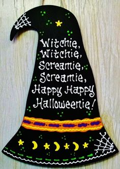 Adorable & Unique WITCH HAT HALLOWEEN Sign Holiday Plaque Decor Goblins Hanger #HandcraftedbyMillerFamilyWoodcrafts