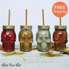 Skull Glass Cocktail Jars Drink Straw Lids Jam BBQ Party Halloween Sugar Head