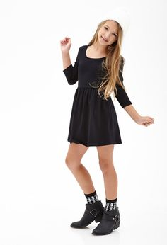 Heathered A-Line Dress (Kids) | FOREVER21 girls - 2000102587 Size 9-10 with leggings or 11-12 without