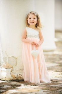 White and Pink Two-tone One Shoulder Long Chiffon Flower Gril Dress