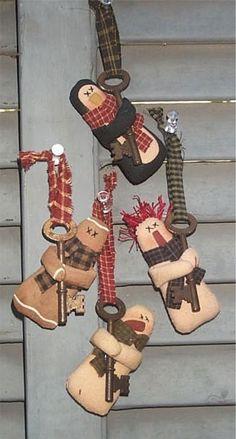 Rusty Key Ornaments E-Pattern/Instant by PalettePrimitives Primitive Christmas Ornaments, Christmas Sewing, Christmas Items, Xmas Ornaments, Country Christmas, Christmas Snowman, Christmas Diy, Christmas Decorations, Primitive Patterns