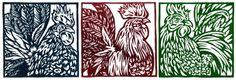 Three Roosters Linoleum Block Relief print Curt Wells -