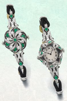 From the estate of Lebanese Princess Helene Lutfallah-Sursock - An Art Deco emerald, onyx, enamel and diamond wristwatch, Cartier, 1920s. Of floral motif, set with circular- and single-cut diamonds, cabochon emeralds and polished onyx, opening to reveal the dial signed Cartier with Roman numerals, the back of the bracelet applied with black enamel, signed Cartier, numbered, French assay and maker's marks. #Cartier #ArtDeco #watch