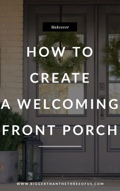 See this Front Porch Makeover including door upgrade, home decor ideas for the front porch, installing a new doorbell, etc! #frontporch #coveredfrontporch