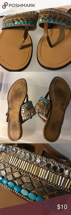 Bohemian sandals Super fun! Jeweled sandals with thong style. Very flat no heel. No embellishments are missing, all intact. Worn less than 5 times, very good condition. Wide fittted. Shoes Sandals