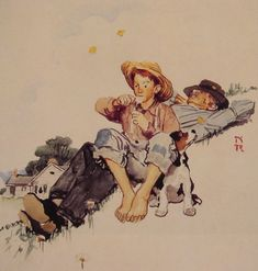 Grandpa and Me picking daisies by Norman Rockwell #art
