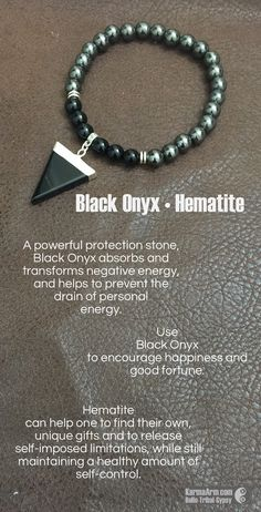 MANTRA: I am focused on the good. - 8mm Black Onyx Round Natural Gemstones - 15mm Black Onyx Arrow Natural Gemstone - 8mm Black Hematite Round Natural Gemstones - Tibetan Silver Rondelles - Commercial