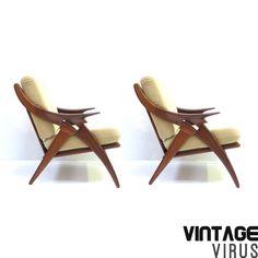 [:en]Set of two vintage design armchairs De Knoop De Ster Gelderland[:nl]Set van twee vintage design fauteuils De Ster Gelderland De Knoop