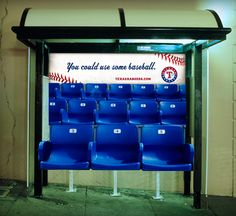 #texas #rangers #transit #OOH #advertising Out Of Home Advertising, Creative Advertising, Bus Shelters, Texas Rangers, Guerrilla, Creative Inspiration, Communication, Marketing, Street