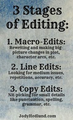 3 Stages of Editing: posting because after NaNoWriMo it will be time to hunker down and get cracking on editing my first work.