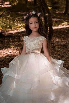 Ball-Gown Scoop Neck Champagne Flower Girl Dress with Bow(s) – Angrila Toddler Flower Girl Dresses, Tulle Flower Girl, Organza Flowers, Girls Dresses, Flower Dresses, Flower Girls, Champagne Flower Girl, First Communion Dresses, Lace Weddings