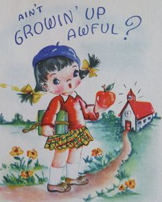 Quirky Happy Birthday Vintage Card Girl's by Colorsforkidsshop